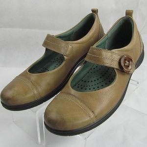 ECCO Tan Leather Mary Jane Flat